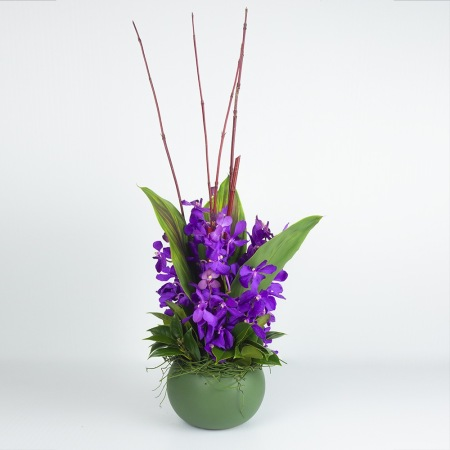 round purple orchid arrangement